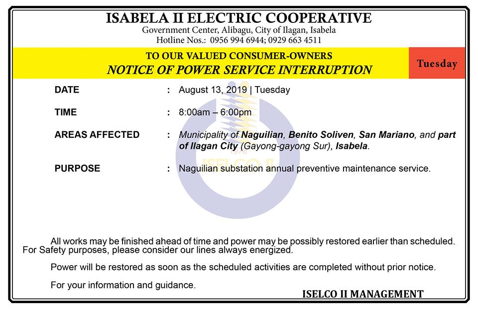 NOTICE OF POWER SERVICE INTERRUPTION August 13, 2019   Tuesday