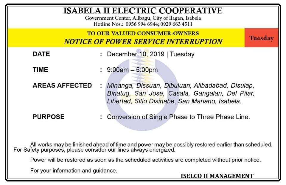 NOTICE OF POWER SERVICE INTERRUPTION December 10, 2019   Tuesday