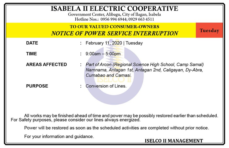 NOTICE OF POWER SERVICE INTERRUPTION February 11, 2020   Tuesday