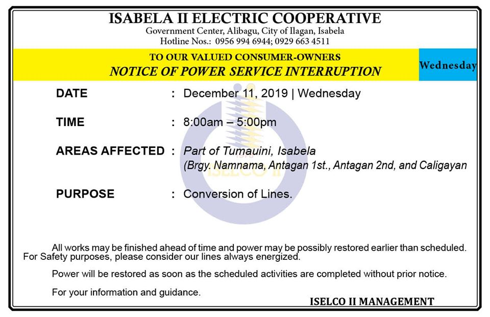 NOTICE OF POWER SERVICE INTERRUPTION December 11, 2019   Wednesday