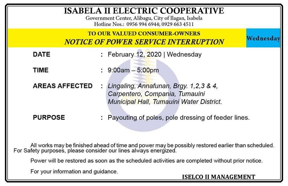 NOTICE OF POWER SERVICE INTERRUPTION February 12, 2020   Wednesday