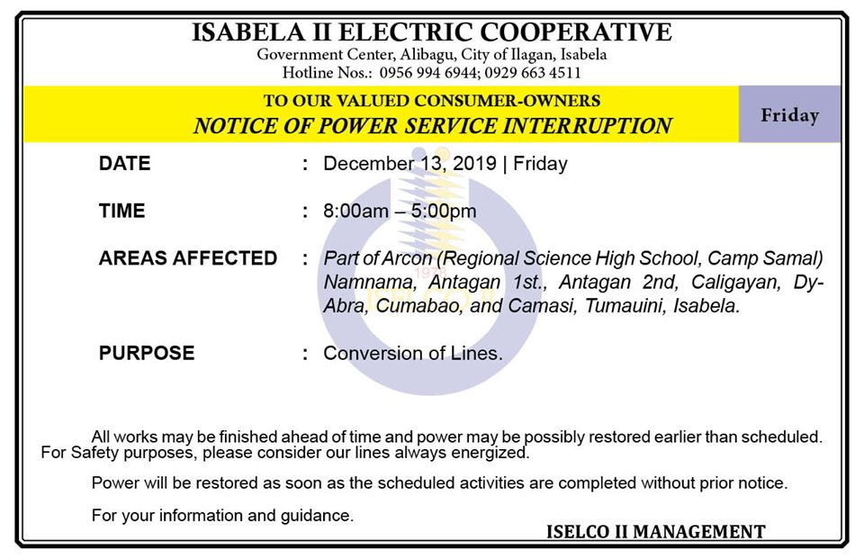 NOTICE OF POWER SERVICE INTERRUPTION December 13, 2019   Friday