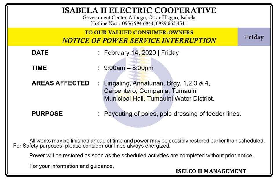 NOTICE OF POWER SERVICE INTERRUPTION February 14, 2020   Friday
