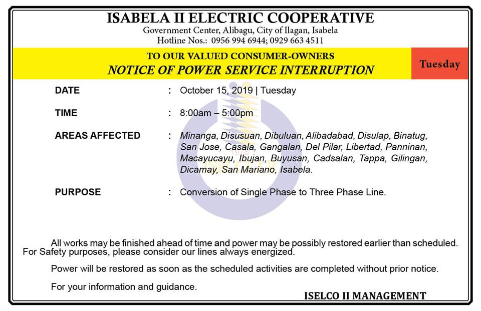 NOTICE OF POWER SERVICE INTERRUPTION October 15, 2019   Tuesday