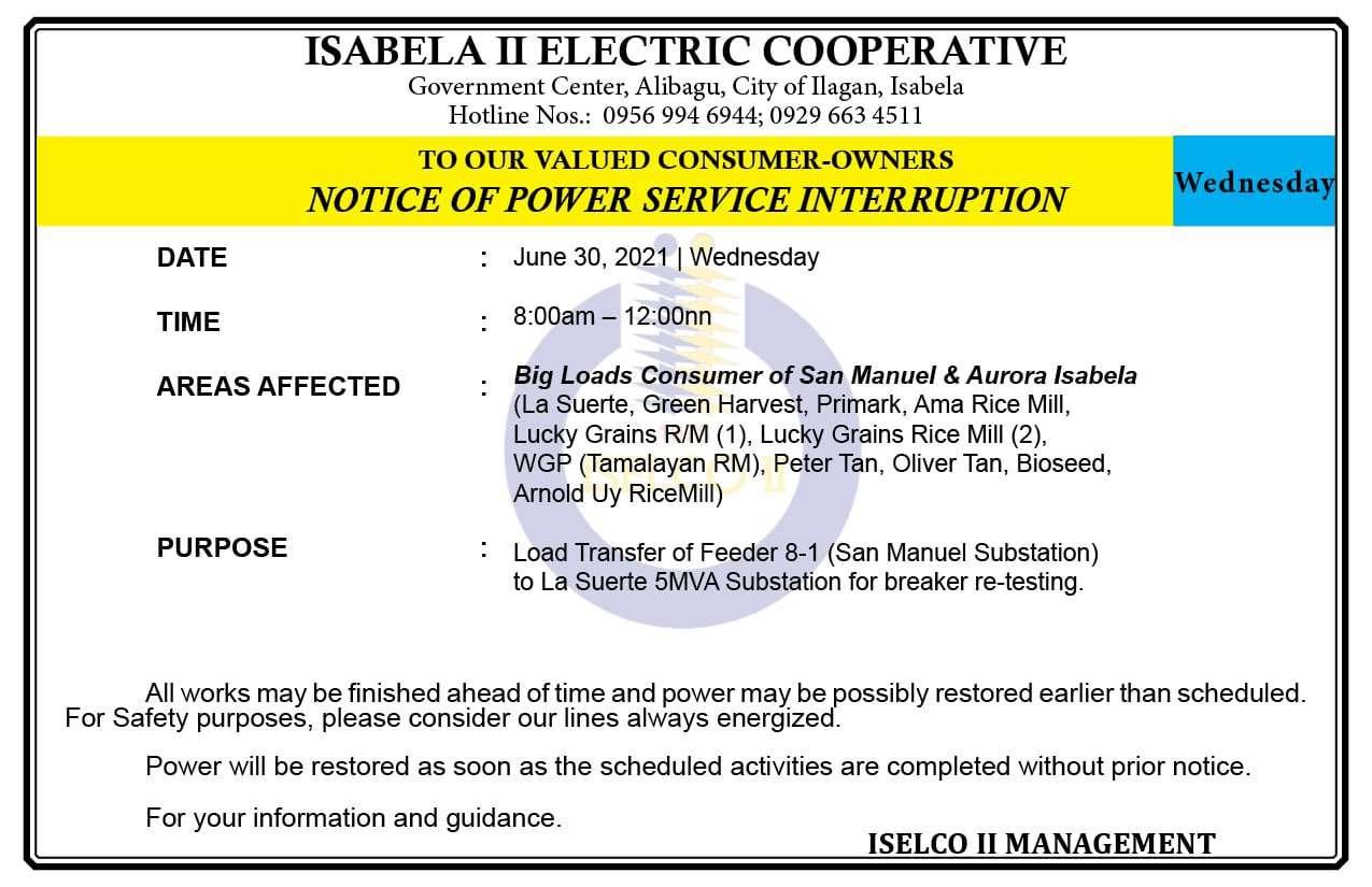 NOTICE OF POWER SERVICE INTERRUPTION June 30, 2021   Wednesday