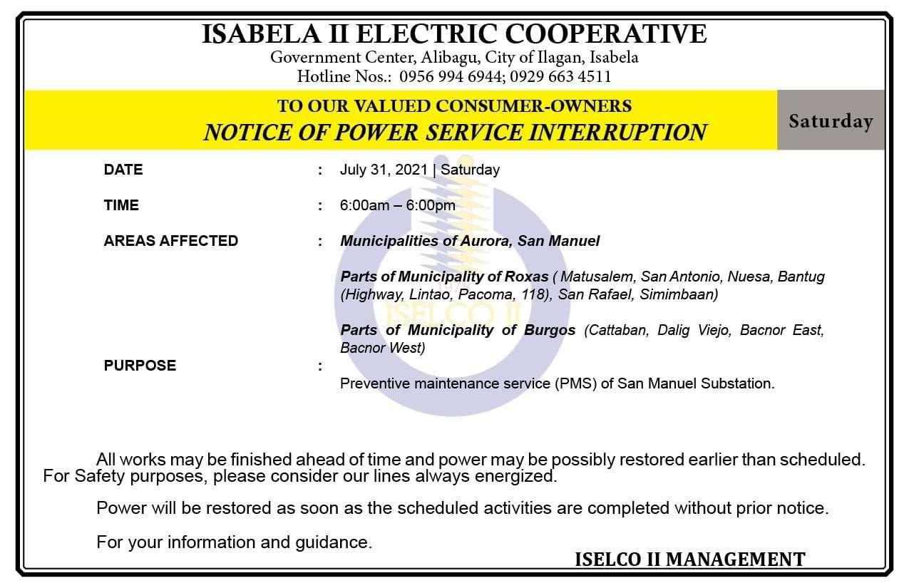 NOTICE OF POWER SERVICE INTERRUPTION July 31, 2021   Saturday