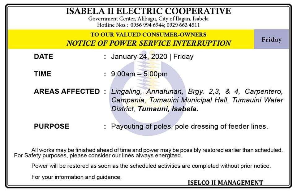 NOTICE OF POWER SERVICE INTERRUPTION January 24, 2020   Friday