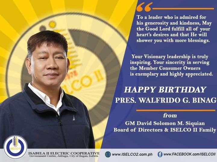 Happy birthday, Pres. Walfrido G. Binag!