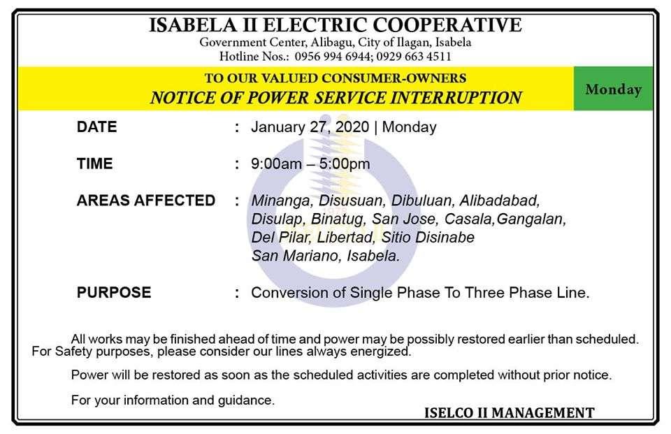 NOTICE OF POWER SERVICE INTERRUPTION January 27, 2020   Monday