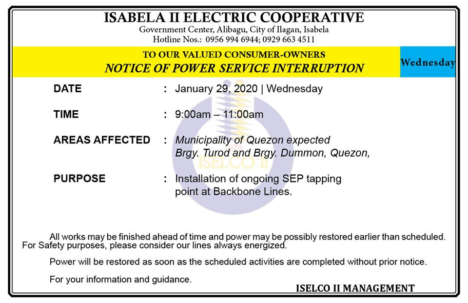 NOTICE OF POWER SERVICE INTERRUPTION January 29, 2020   Wednesday