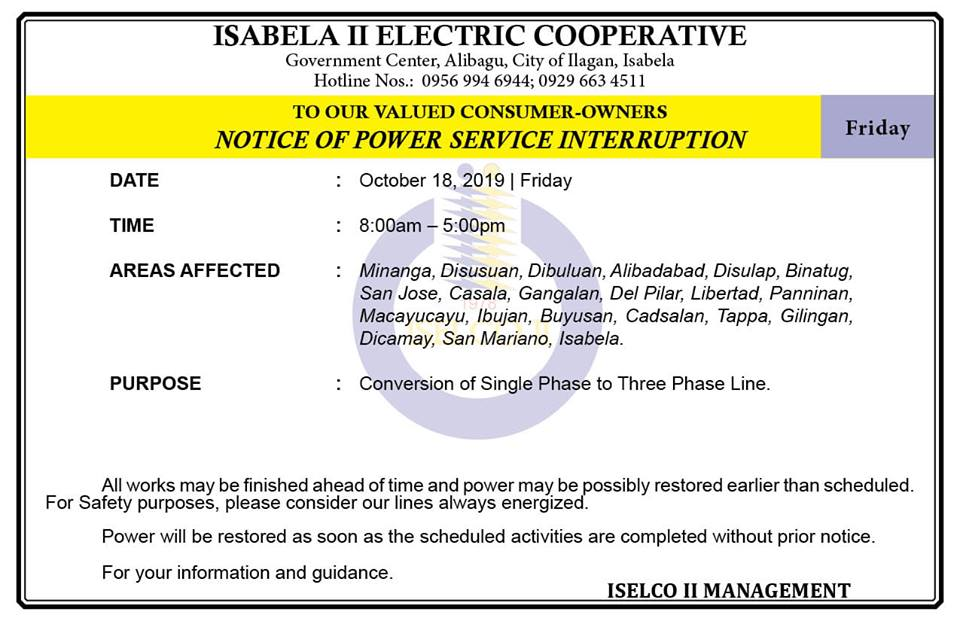 NOTICE OF POWER SERVICE INTERRUPTION October 18, 2019   Friday
