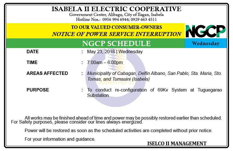 NOTICE OF POWER SERVICE INTERRUPTION May 23, 2018