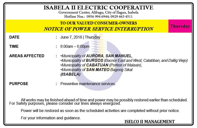 NOTICE OF POWER SERVICE INTERRUPTION (JUNE 7, 2018) THURSDAY