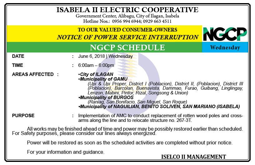 NOTICE OF POWER SERVICE INTERRUPTION (JUNE 6, 2018) WEDNESDAY