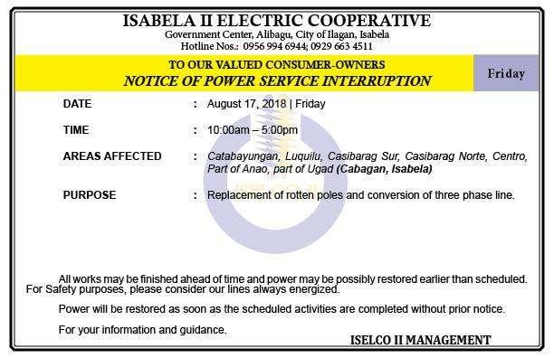 NOTICE OF POWER SERVICE INTERRUPTION August 17, 2018   Friday