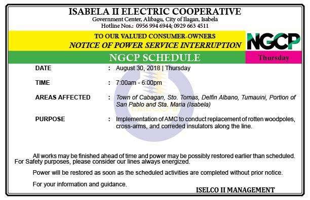 NOTICE OF POWER SERVICE INTERRUPTION (AUGUST 30, 2018)