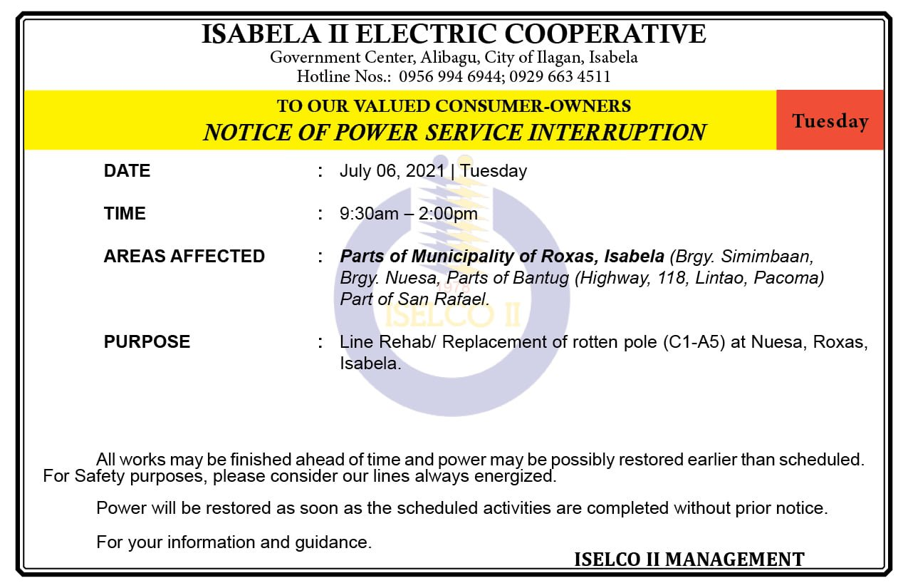 NOTICE OF POWER SERVICE INTERRUPTION July 06, 2021   Tuesday