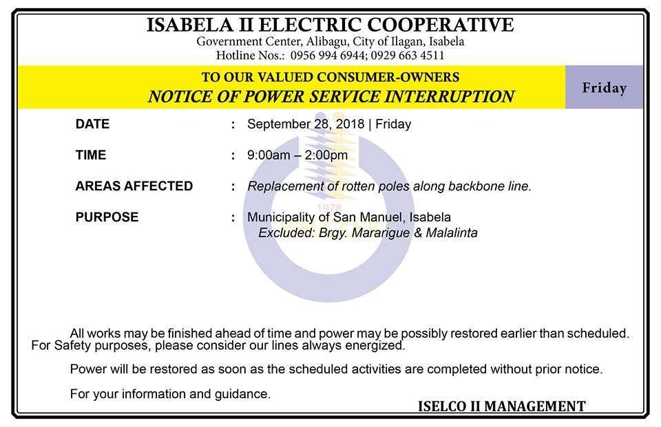 NOTICE OF POWER SERVICE INTERRUPTION September 28, 2018   Friday