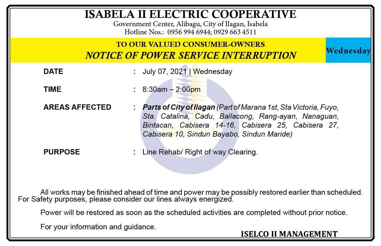 NOTICE OF POWER SERVICE INTERRUPTION July 07, 2021   Wednesday