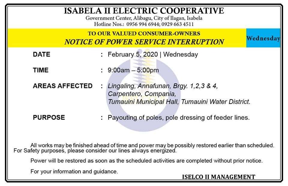 NOTICE OF POWER SERVICE INTERRUPTION February 5, 2020   Wednesday