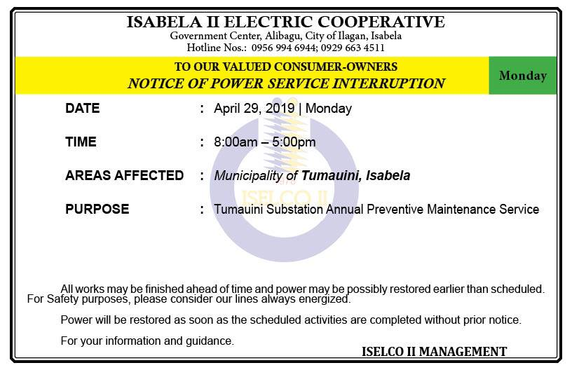 NOTICE OF POWER SERVICE INTERRUPTION  April 29, 2019   Monday