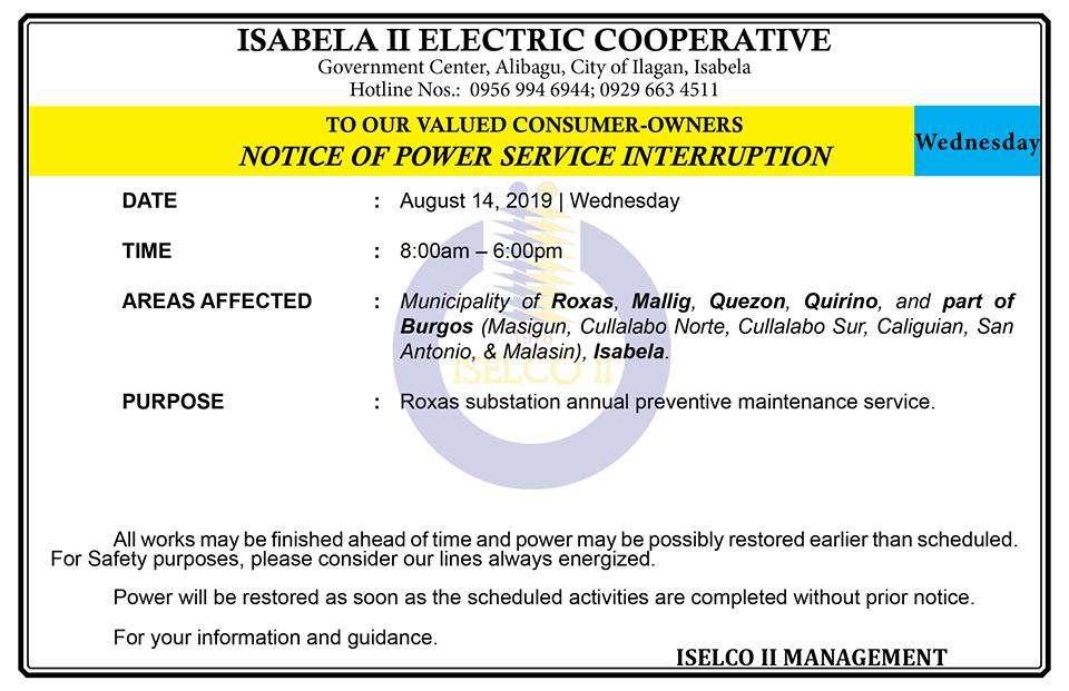 NOTICE OF POWER SERVICE INTERRUPTION
