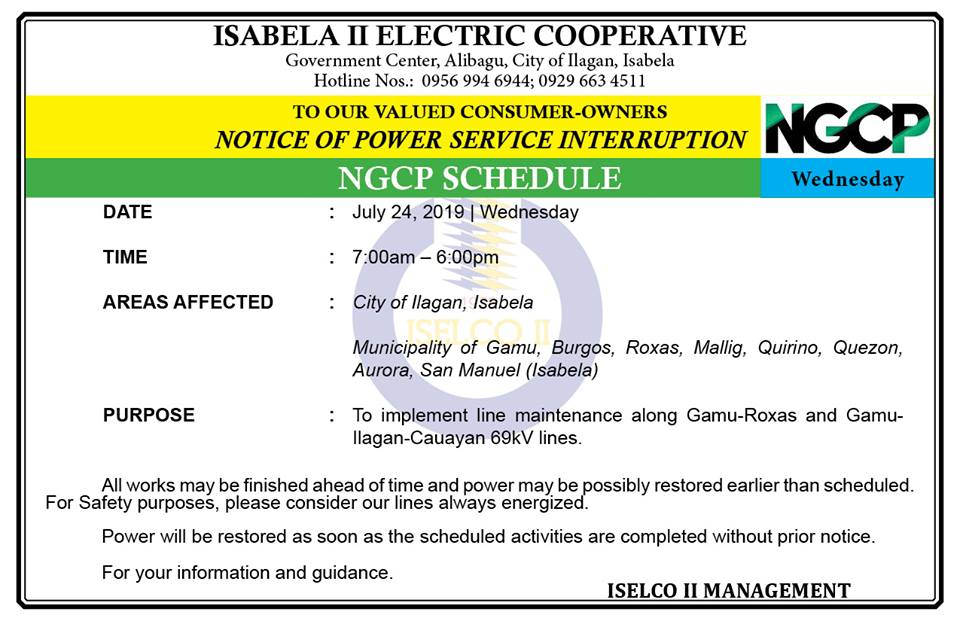 NGCP NOTICE OF POWER SERVICE INTERRUPTION – July 24, 2019 | Wednesday