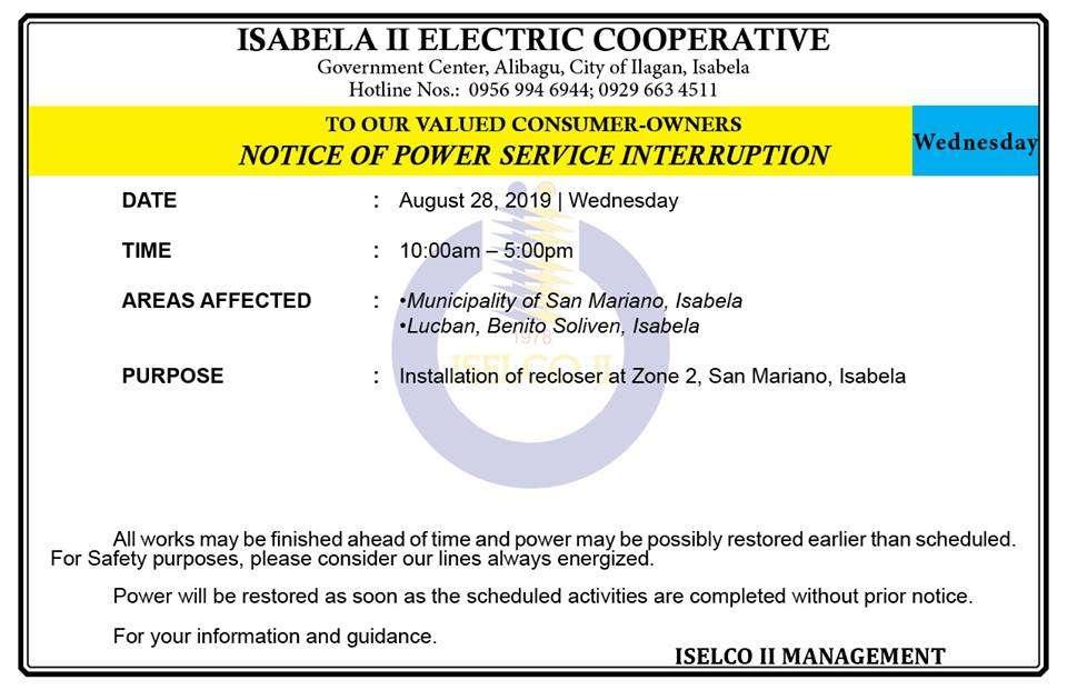 NOTICE OF POWER SERVICE INTERRUPTION August 28, 2019   Wednesday