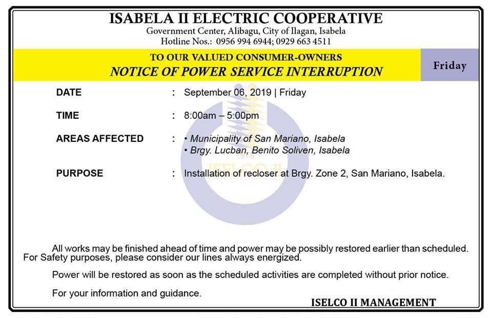 NOTICE OF POWER SERVICE INTERRUPTION September 06, 2019   Friday