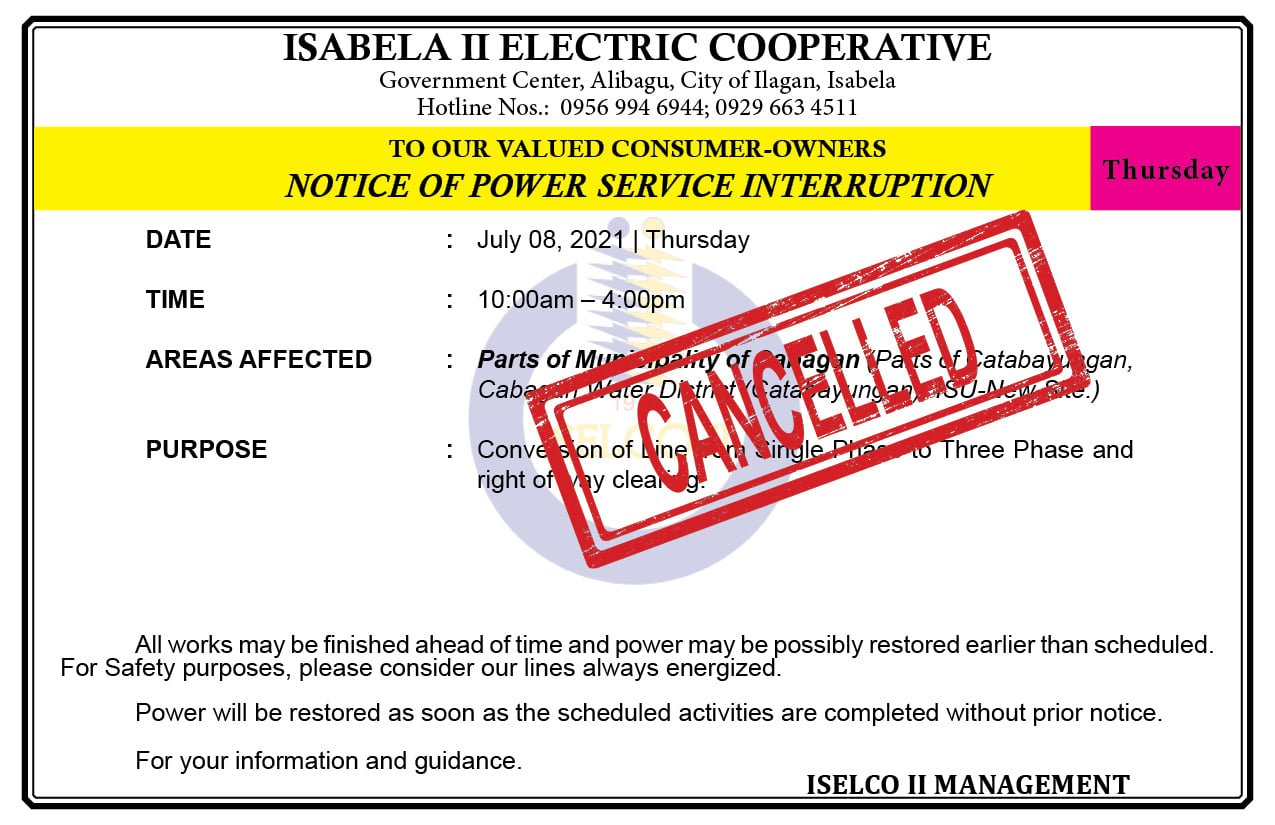NOTICE OF POWER SERVICE INTERRUPTION July 08, 2021 (CANCELLED)