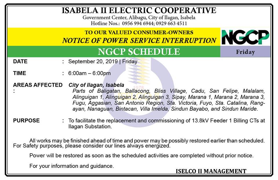 NOTICE OF POWER SERVICE INTERRUPTION September 20, 2019 | Friday
