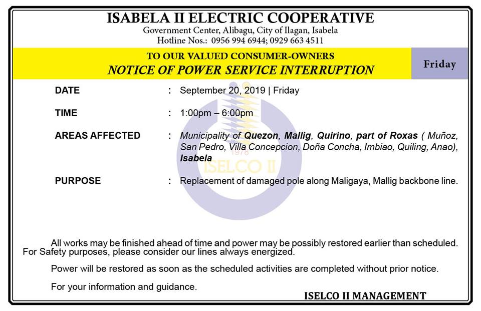 RESCHEDULE OF NOTICE OF POWER SERVICE INTERRUPTION September 20, 2019   Friday