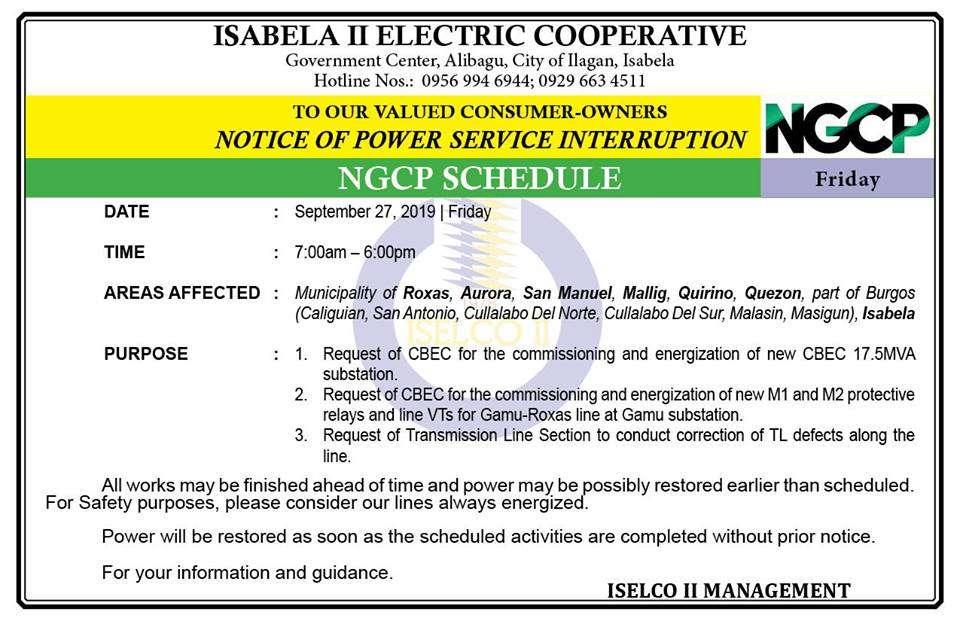 NOTICE OF POWER SERVICE INTERRUPTION  •September 27, 2019 | Friday