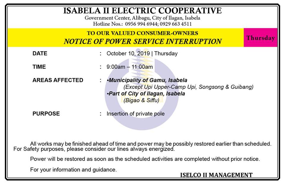 NOTICE OF POWER SERVICE INTERRUPTION October 10, 2019   Thursday