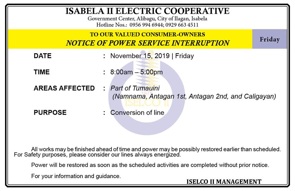 NOTICE OF POWER SERVICE INTERRUPTION November 15, 2019   Friday