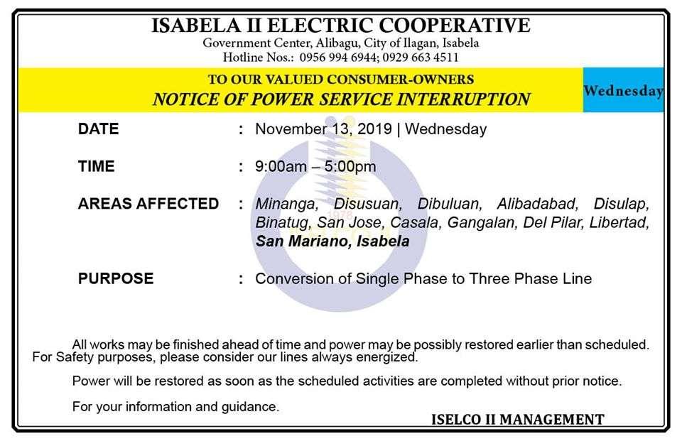 NOTICE OF POWER SERVICE INTERRUPTION November 13, 2019   Wednesday