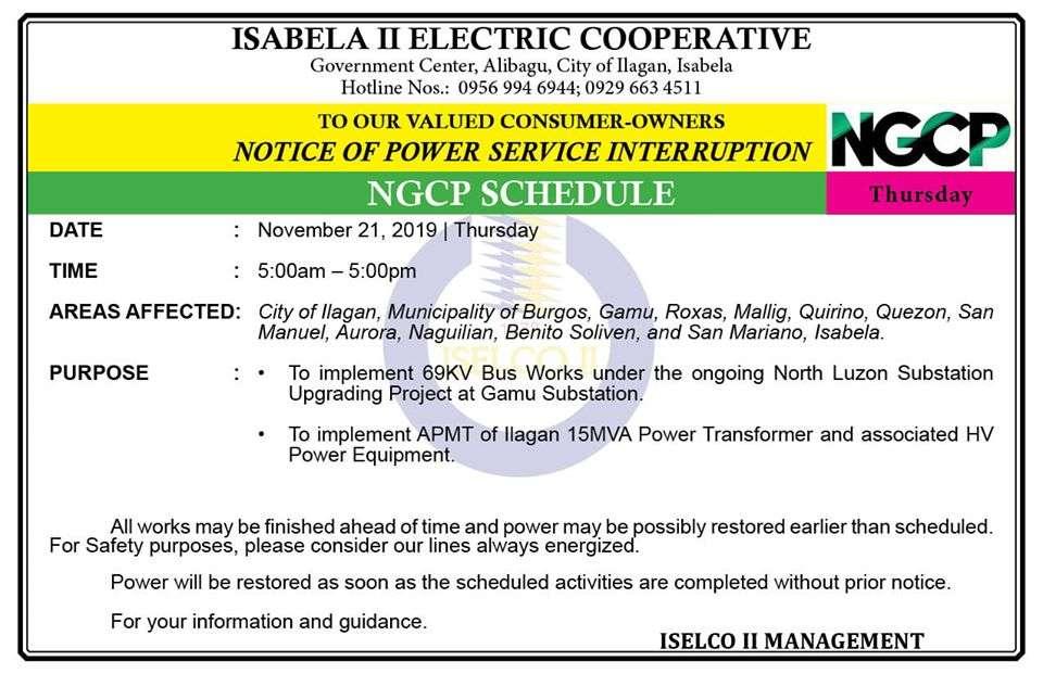 NOTICE OF POWER SERVICE INTERRUPTION November 21, 2019 | Thursday