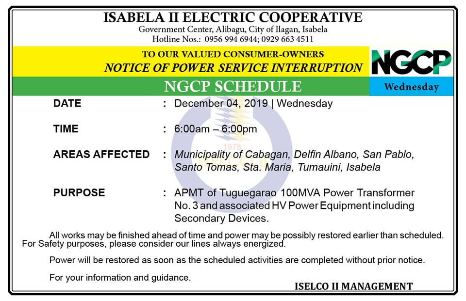 NOTICE OF POWER SERVICE INTERRUPTION December 04, 2019 | Wednesday