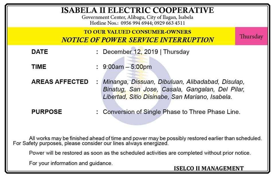 NOTICE OF POWER SERVICE INTERRUPTION December 12, 2019   Thursday