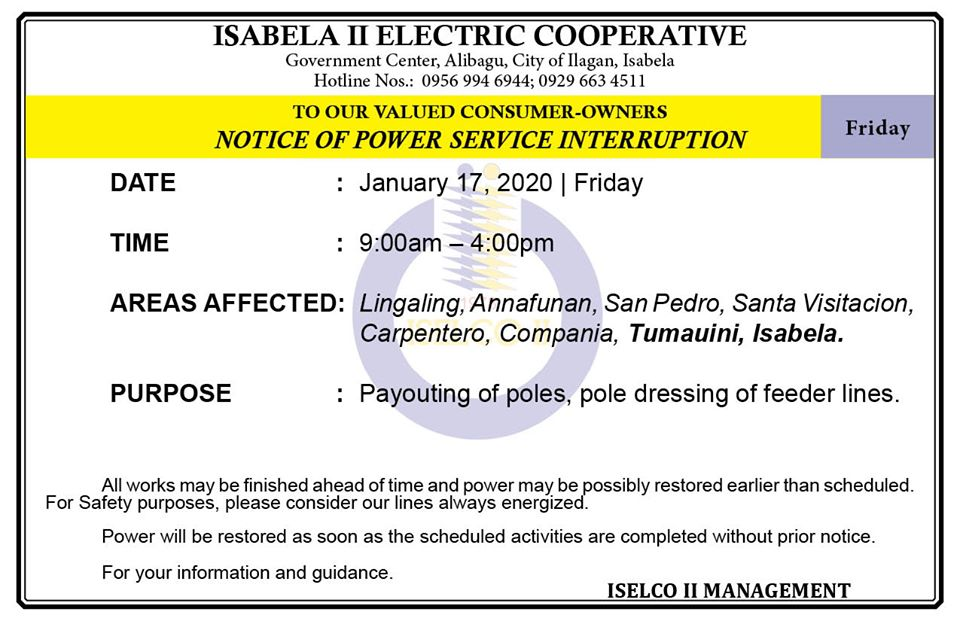 NOTICE OF POWER SERVICE INTERRUPTION January 17, 2020   Friday