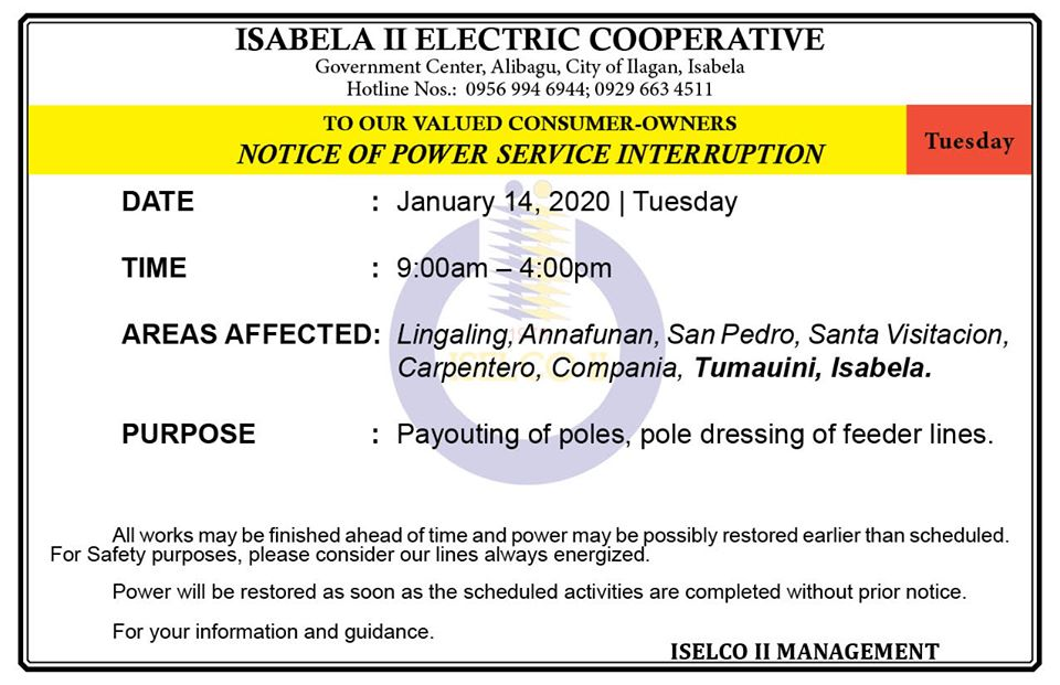 NOTICE OF POWER SERVICE INTERRUPTION January 14, 2020   Tuesday