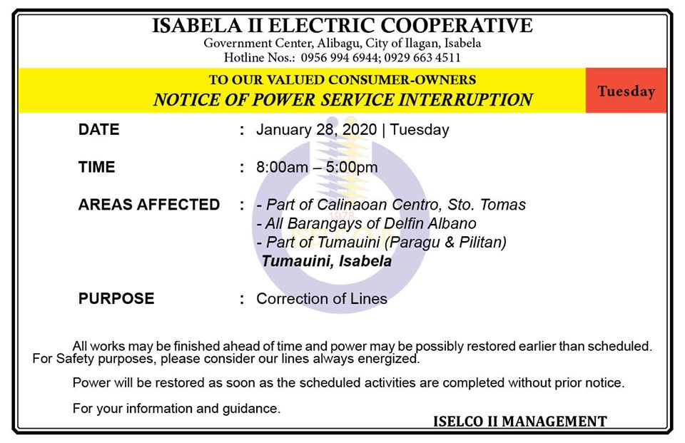 NOTICE OF POWER SERVICE INTERRUPTION January 28, 2020   Tuesday