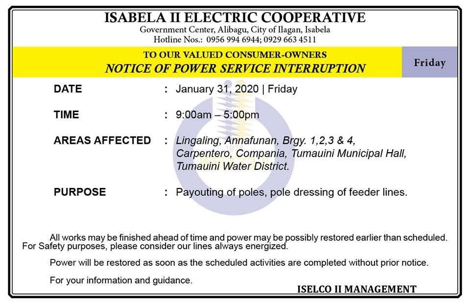 NOTICE OF POWER SERVICE INTERRUPTION January 31, 2020   Friday