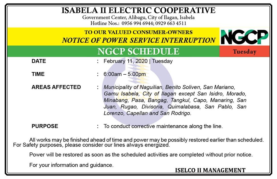 NOTICE OF POWER SERVICE INTERRUPTION February 11, 2020 | Tuesday