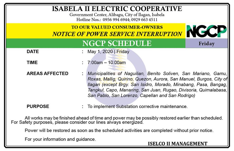 NOTICE OF POWER SERVICE INTERRUPTION May 1, 2020 | Friday