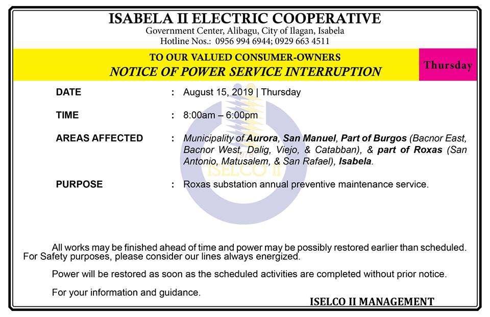 NOTICE OF POWER SERVICE INTERRUPTION  August 15, 2019   Thursday