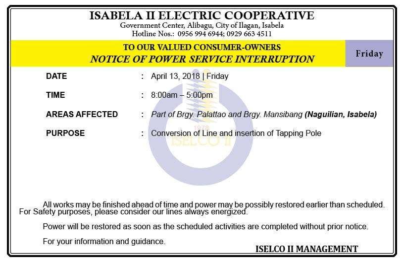 NOTICE OF POWER SERVICE INTERRUPTION April 13, 2018   Friday