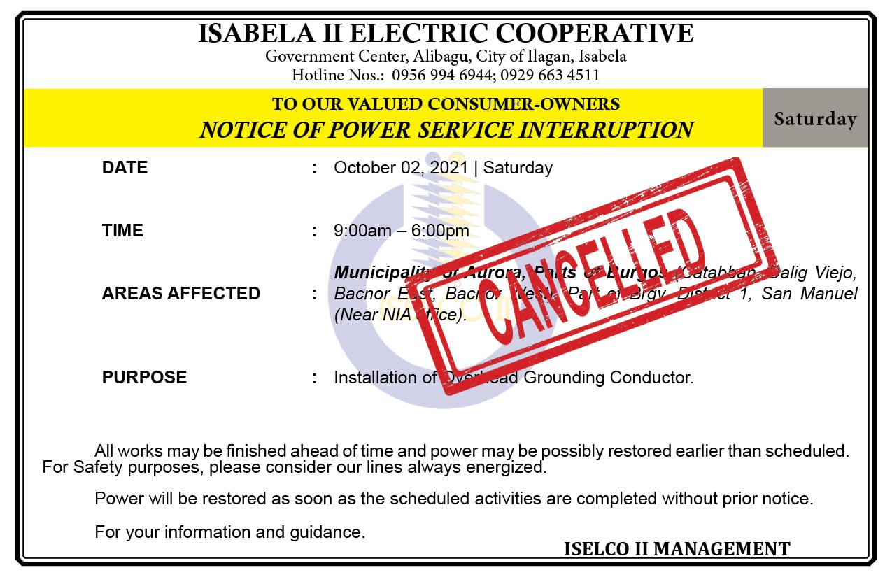 Cancelled: NOTICE OF POWER SERVICE INTERRUPTION October 02, 2021   Saturday