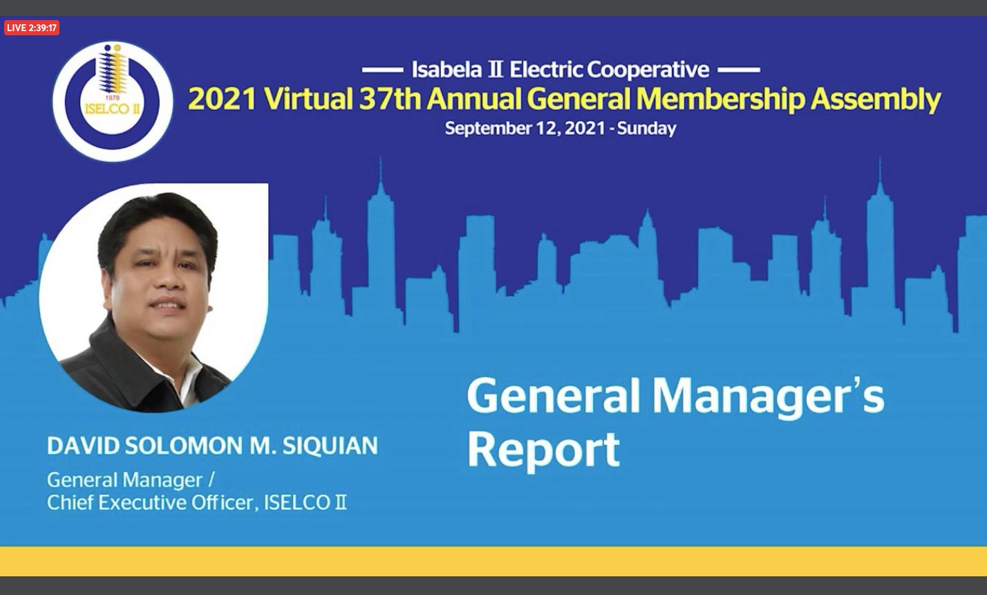 General Manager David Solomon M. Siquian's Report