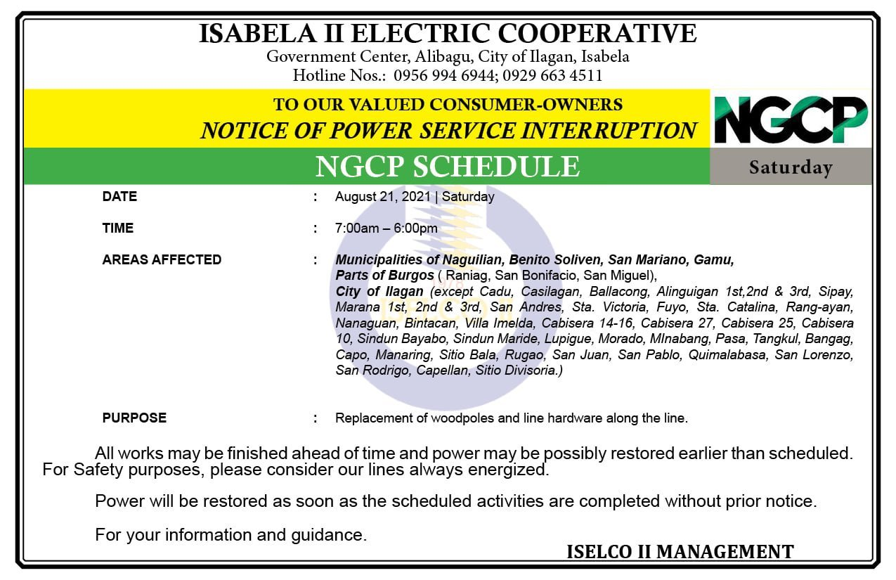 NOTICE OF NGCP POWER SERVICE INTERRUPTION August 21, 2021 | Saturday